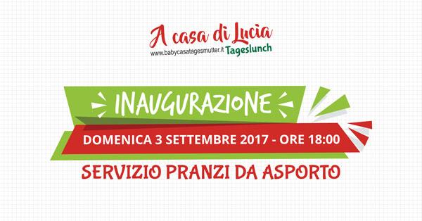 """Baby Casa inaugura il Nuovo servizio TagesLunch """"A Casa di Lucia"""""""